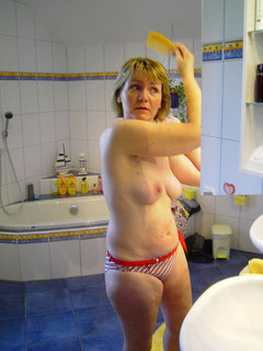 Matured woman naked in public