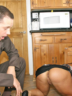 Blonde mature in stockings gets a facial