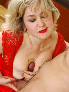 Mature blond tgirl fucks guy