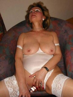 Love creampie mature horny mistress in stockings fucks her y