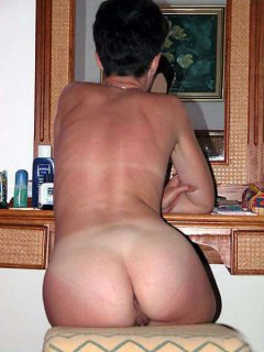 Buttocks and legs of mature curvy wife